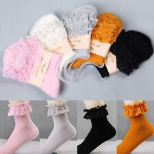 Kawaii Women Ladies Retro Cute Lace Ruffle Frilly Ankle Sock Cotton Socks JS