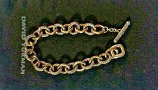 "David Yurman sterling silver and 18k gold medium 12mm oval link bracelet 8.5"""