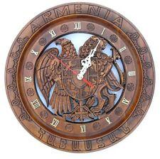 Coat of arms Armenian Handmade Handcrafted walnut Wood Decor Armenia art clock