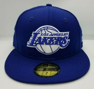 NEW ERA 59FIFTY FITTED HAT.  NBA.  LOS ANGELES LAKERS.  ROYAL BLUE.