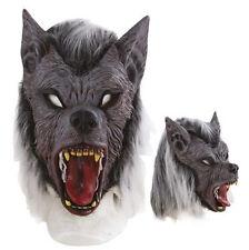 Masque de loup-garou méchant avec poils et cheveux gris gore horreur peur fetes
