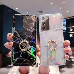 For Samsung Galaxy S20 FE Note 20 Ultra Shockproof Marble Ring Soft Case Cover