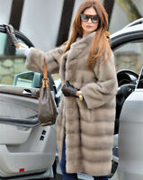 Women's Real Full Pelt Natural Mink Fur Coat Stand Collar Jacket Thick Overcoat