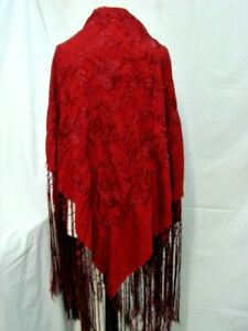 ANTIQUE 1920S VINTAGE GORGEOUS RED EMBROIDERED FRINGED SILK PIANO SHAWL