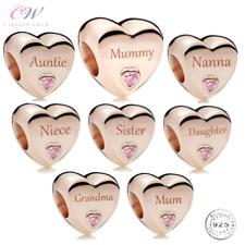Rose Gold Charm Niece, Nanna, Mummy, Daughter, Auntie, Sister, Mum- 925 Silver💞