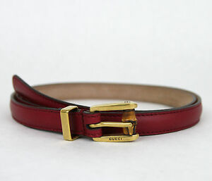 NEW Authentic GUCCI Leather Belt w/Bamboo Buckle Raspberry 339065 6236