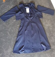 Ladies navy dress coat unique style open shoulder slim fit brand new