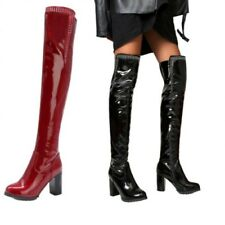 New Women's Rhinestone Over The Knee Thigh High 9CM Heel Round Toe Boots 44/50 L