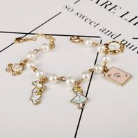 NEW Alice in Wonderland Gold Plated Charm Bracelet Perfect Gift for Christmas