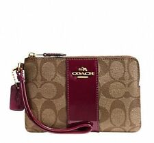 Coach F54460 75th Anniversary Boxed Signature Corner Zip Wristlet Khaki Burgundy