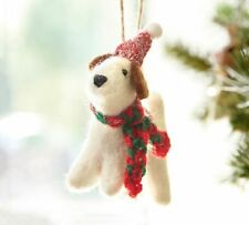 Pottery Barn FELT TERRIER DOG with HAT & SCARF Ornament
