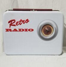 Retro Radio Lunch Box White Red 10x8