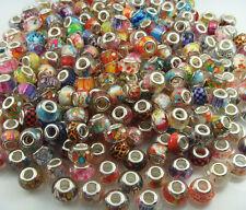 50pcs mix murano DIY Jewelry charm LAMPWORK bead fit European Bracelet gift #1