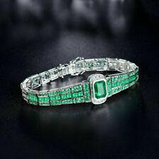 15Ctw Green Emerald 14K White Gold Finish Men's Tennis Bracelet