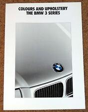 1991 BMW 3 SERIES COLOURS & UPHOLSTERY Brochure (E36) - 325i 320i 318i 316i