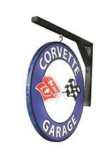 "CORVETTE SIGN - VINTAGE DESIGN 14"" Dia. CORVETTE GARAGE WITH WALL BRACKET"