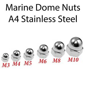 Marine Domed Cup Nuts A4 Stainless Steel Acorn Dome DIN 1587 M3 M4 M5 M6 M8 M10