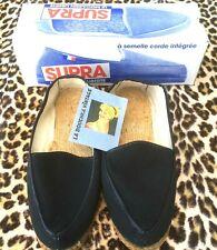 French 1950s Men Summer Espadrilles Slip-On Shoes~Black Canvas~Crepe Sole~New~8