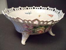 Antique Von Schierholz Dresden German capodimonte footed openwork gold bowl