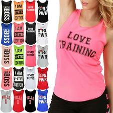 Women Ladies Sleeveless Love Training Printed Sports Gym Cutie T Shirt Vest Top