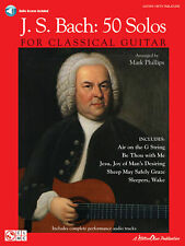 J.S. Bach 50 Solos For Classical Guitar Learn to Play TAB Music Book & AUDIO