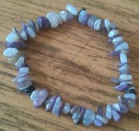 BEAUTIFUL CHAROITE & BLUE LACE AGATE HEALING CRYSTAL CHIP BEAD BRACELET