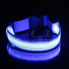 Blue Cats Pets Puppy Dogs LED Collar Light-up Flash Night Safety Nylon Size L