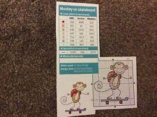 mini monkey on skateboard pattern cross stitch chart only M9