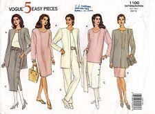 VOGUE Misses' Jacket,Dress,Top.Skirt&Pants Pattern 1100 Size 6-10 UNCUT