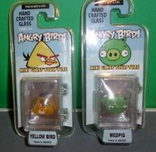 Angry Birds Mini Lot Of 2 Yellow Bird & Med Pig Hand Crafted Glass Sculpture 1""