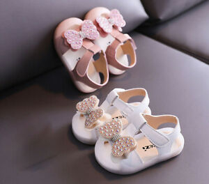 Baby Infant Girls Dress Shoes Kids Princess Fashion Bow Flat Soft Party Sandals