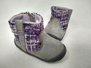 NEW! Stride Rite Toddlers Adora Easy Slip On Booties Gray/Purple #61692 201K cc