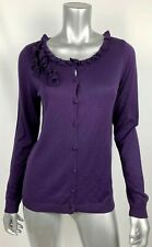 Talbots Cardigan M Silk Blend Thin Knit Purple Ruffle Buttons Long Slv Sweater