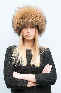 Royal Saga Furs Natural Finn Raccoon Full Fur Cossack Style Women's Hat