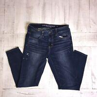 American Eagle Jegging Skinny Jeans Women's 6 SHORT Dark Wash Next Level Stretch