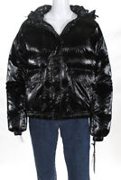Blanc Noir Womens Hooded Metallic Mont Blanc Puffer Jacket Black Size Small