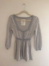Hollister Stripe Henley Rabbit Hair Winter Babydoll Sweater, Size M, grey stripe