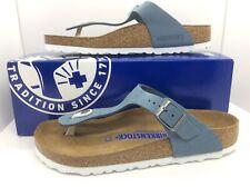 BIRKENSTOCK Womens Gizeh Dove Blue Leather Sandals Shoes Sz 7 EU38 ZB6-76