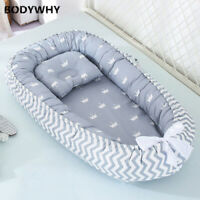 New Portable Crib with Pillow Travel Bed Baby Infant Cotton Cradle 85*50 Cm Crib