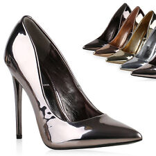Spitze Damen Pumps Lack Metallic High Heels Stilettos Party 813492 Trendy
