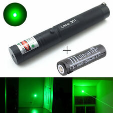 10 Mile Military Green 1mW 532nm Laser Pointer Pen Light Focus Beam Burn + 18650