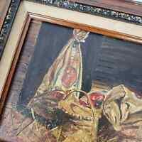 """Vintage Still Life Barn Art Framed Oil Painting On Canvas Signed Pat 15""""x13"""""""