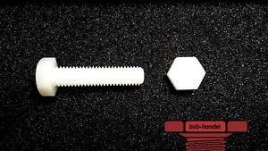 M8 x 50 Sechskantschraube DIN933 Polyamid Kunststoff PA6.6 10 Restposten 10 Stk.
