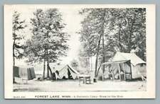 Peninsula Camp FOREST LAKE Minnesota~Antique Tents Camping Postcard 1909