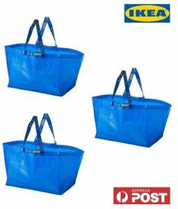 3 x IKEA FRAKTA Large Eco Carrier Carry Bag 71L Shopping Laundry Reuse Storage