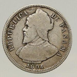 1904 PANAMA CONQUISTADOR BALBOA Antique VINTAGE Silver 10 Centesimos Coin i93198