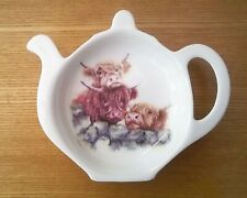 Highland cow bone china teabag tidy by Jane Bannon
