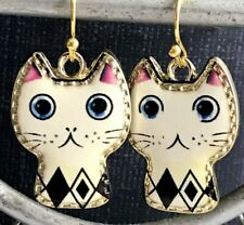 Whimsical Artistic Cat Dangle Earrings. Ivory, Black and Pink.