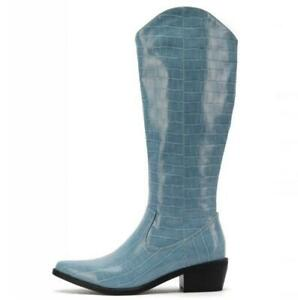 4 Colors Women's Western Cowboy Pointy Toe Block Heel Mid Calf Knee High Boots L