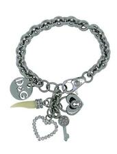Dolce & Gabbana Jewels DJ0688 Women's Silver Tone Charms Clear Stone Bracelet